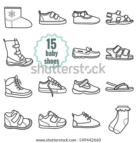 Baby shoes icons set.Shoes for summer and winter.Isolated vector illustration on white background.