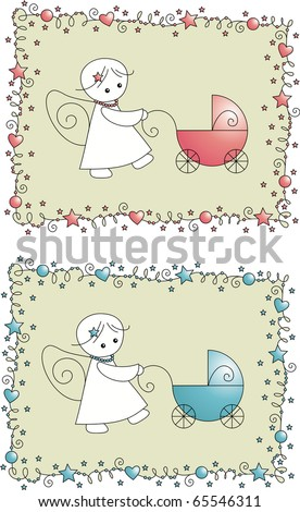 baby shower arrival card for boy and girl - stock vector