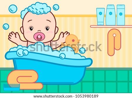 Baby Shower Bath In Flat Style Shampoo Soap Bottles Foam With Bubbles