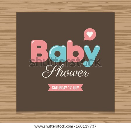 Baby shower card, balloons type font vector design #160119737