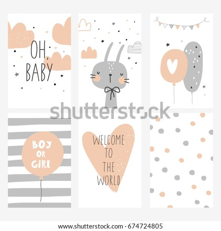 Baby Shower card design - Shutterstock ID 674724805