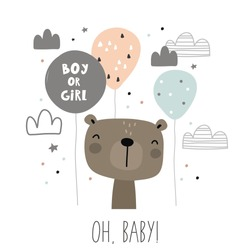 Baby Shower card design. Boy or Girl
