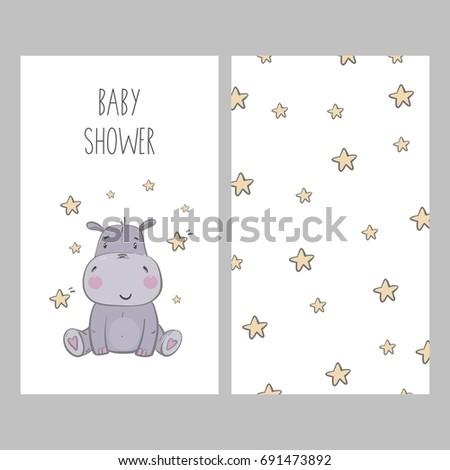 Baby Shower card design. Cute Hippo