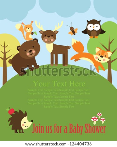 baby shower card design. forest friends. vector illustration