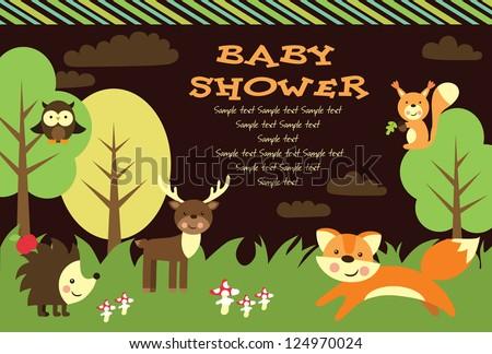 baby shower card design. forest friends. vector illustration