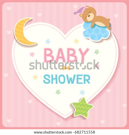 Baby shower card for new born design with cloud, star,moon,heart and sleeping bear.