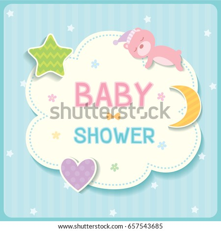 Baby shower card for new born design with cloud, star,moon,heart and sleeping bear on pastel blue background color.