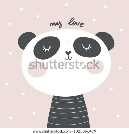 baby shower card panda vector