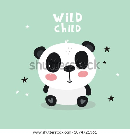 baby shower card panda vector