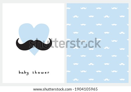 Baby Shower Card. Seamless Vector Pattern with White Moustaches Isolated on a Pastel Blue Background. Nursery Art Ideal for Baby Boy Party Decoration. Cute Blue Heart with Black Moustache. Stock foto ©