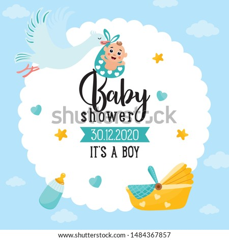 Baby shower card. Stork carrying a cute baby in a bag. It's a boy! Baby boy announcement card template. Place for your text.