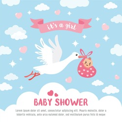Baby shower card. Stork carrying a cute baby in a bag. It's a girl! Baby girl announcement card template. Place for your text.