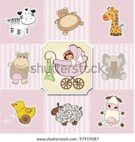 baby shower card template. vector illustration