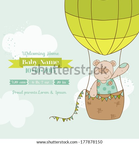 Baby Shower Card with Baby Bear in vector