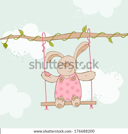 Baby Shower Card with Baby Bunny in vector