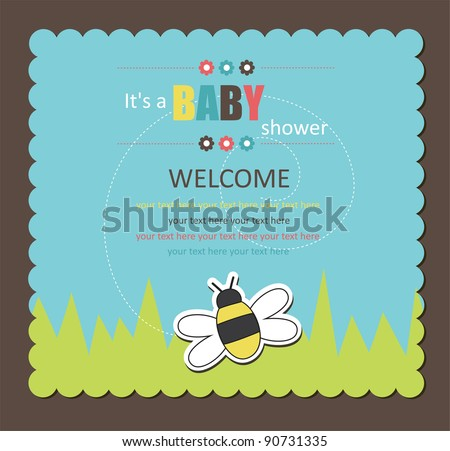 baby shower card with cute bee. vector illustration