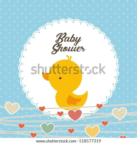baby shower card with cute duck icon and decorative hearts. colorful design. vector illustration