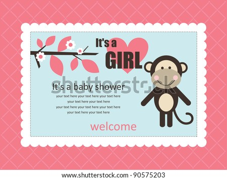 baby shower card with cute monkey. vector illustration