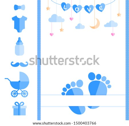 Baby shower card with footprints and a set of kids stuff.   Customizable design