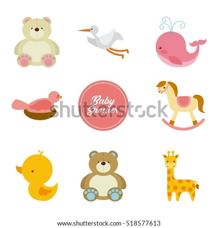baby shower card with icon set of cute animals. colorful design. vector illustration