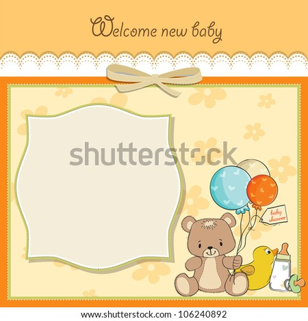 baby shower card with toys - stock vector