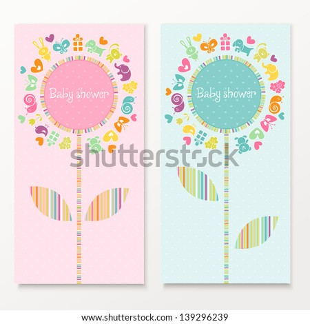 Baby shower cards with funny animals. EPS 10 vector illustration.