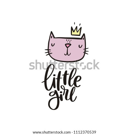 Baby shower cards with lettering. Little girl #1112370539