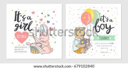 Baby shower cards with toys, hearts, stars and hand drawn letters. Colorful vector invites