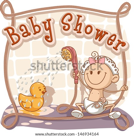 Baby shower rubber duck invitations download free vector art baby shower cartoon invitation vector cartoon of a baby girl showering her rubber ducky filmwisefo