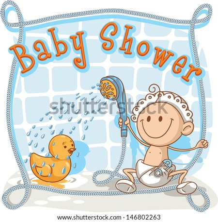 Baby Shower Cartoon Invitation   Vector Cartoon Of A Baby Showering His  Rubber Ducky.