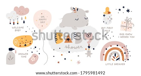 Baby shower collection with vector cartoon doodle elements for the design: baby animal, hippopotamus, rainbow, gift, balloon, clouds, baby bottle. Little hippo sleep on the cloud.