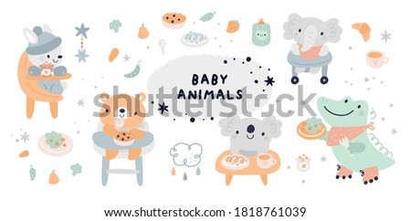 Baby shower collection with vector cartoon doodle elements for the design. Baby animals, bunny, rabbit, bear, koala, crocodile, food, meal. First food for kids. Feeding baby on chair