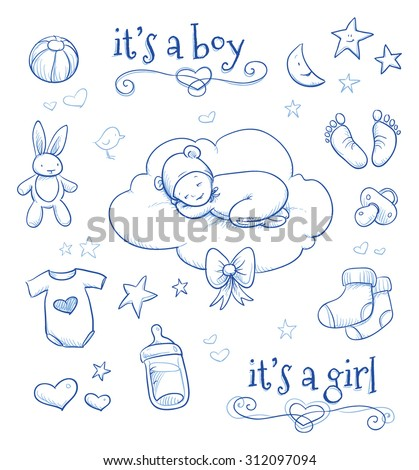 Baby shower. Cute Baby sleeping on cloud with bunny, socs, footprint, stars, hearts and pacifier. Hand drawn line art vector illustration.