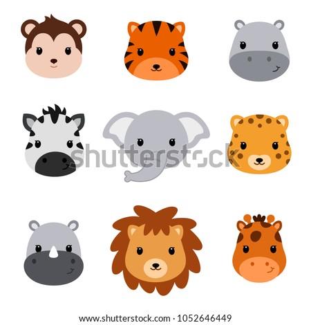 Baby shower cute safari animals. Set of 9 animal heads.