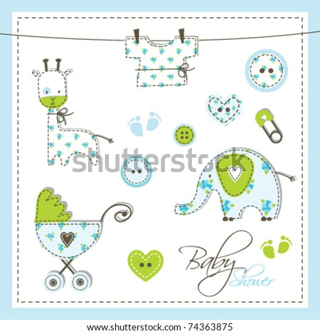 Baby shower design elements - stock vector