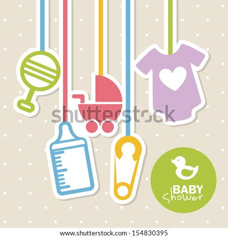 baby shower design over dotted background vector illustration
