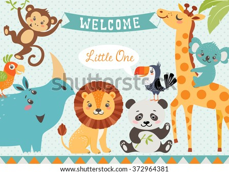 Baby shower design with cute jungle animals. Vector is cropped with Clipping Mask. Stock photo ©