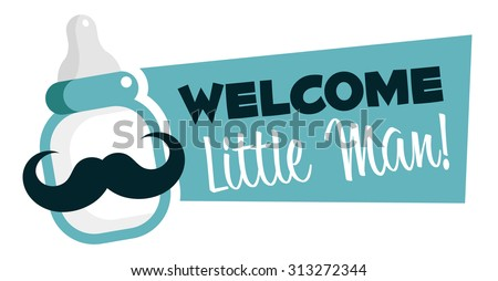 Baby shower emblem with mustache baby bottle