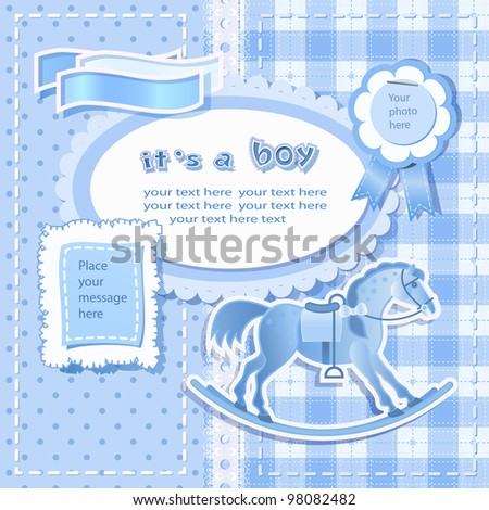Baby shower for boy with scrapbook elements