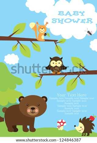 baby shower. forest friends. vector illustration