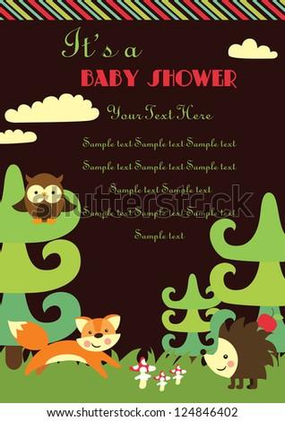 baby shower. forest friends. vector illustration