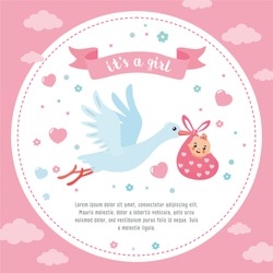 Baby shower frame. Stork carrying a cute baby in a bag. It's a girl! Baby girl announcement card template. Place for your text.