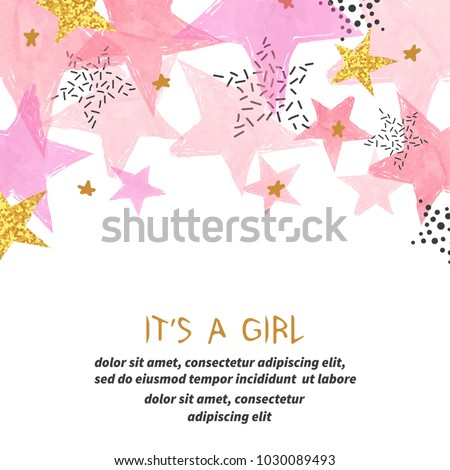 Baby Shower girl card design with abstract watercolor pink and glittering golden stars.