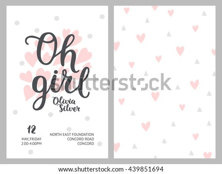 lovely pink and gray card design vector illustration download free vector art free vectors. Black Bedroom Furniture Sets. Home Design Ideas