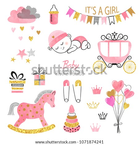Baby Shower girl set. Collection of vector watercolor design elements.