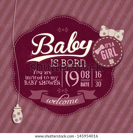 Baby Shower Girl Vintage Invitation Card