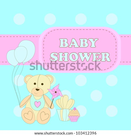 baby shower greeting card with a bear balloons cakes and gifts stock