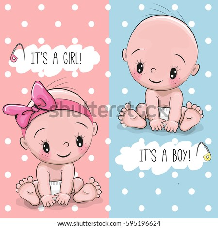 Baby Shower greeting card with babies boy and girl - Shutterstock ID 595196624