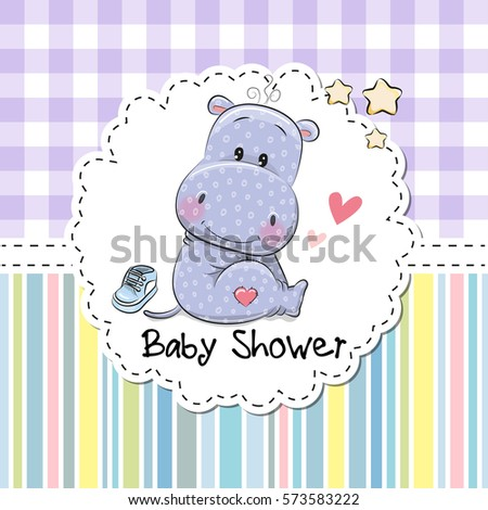 Baby Shower Greeting Card with cute Cartoon Hippo