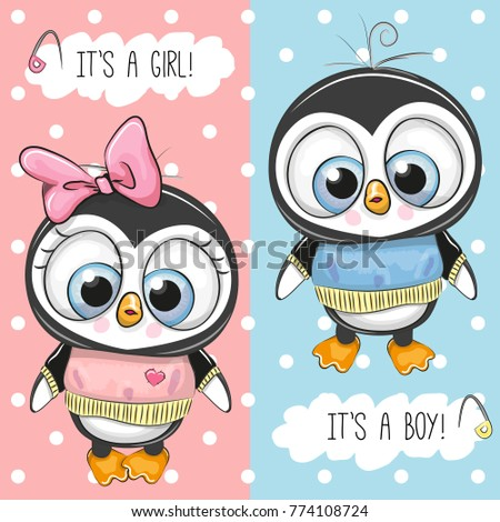 Baby shower greeting card with penguins boy and girl ez canvas baby shower greeting card with penguins boy and girl m4hsunfo